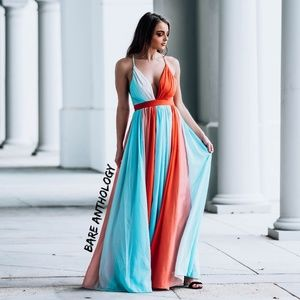Colorblock Crossback Maxi Dress